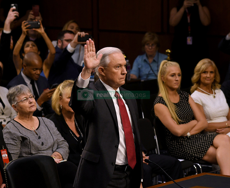 June 13, 2017 - Washington, District of Columbia, U.S - Attorney General JEFF SESSIONS testifies at a U.S. Senate Intelligence Committee hearing on Russian interference with U.S. elections. (Credit Image: © Mark Reinstein via ZUMA Wire)