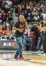 July 6, 2018 - Oakland, CA, U.S. - OAKLAND, CA - JULY 06:  An entertainer from Dope ERA performs before game 3 in week three of the BIG3 3-on-3 basketball league on Friday, July 6, 2018 at the Oracle Arena in Oakland, CA (Photo by Douglas Stringer/Icon Sportswire) (Credit Image: © Douglas Stringer/Icon SMI via ZUMA Press)