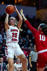 NORMAL, IL - February 07:  Lexi Wallen takes a fader while defended by Mahri Petree during a college women's basketball game between the ISU Redbirds and the Braves of Bradley University February 07 2020 at Redbird Arena in Normal, IL. (Photo by Alan Look)