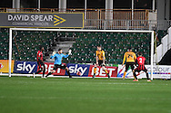 Aidan Hawtin (2) of Brackley scores his teams 1st goal.  Emirates FA Cup 1st round replay match, Newport county v Brackley Town at Rodney Parade in Newport, South Wales onTuesday 17th November 2015. pic by Andrew Orchard, Andrew Orchard sports photography.