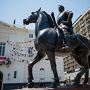 An equestian statue of Valdivia, the Spanish conquistador who founded Santiago in 1541, in Plaza de Armas in the center of Santiago de Chile.