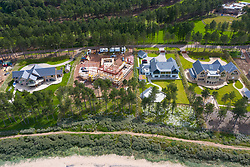 Aerial view of modern large luxury houses on coast at exclusive Archerfield estate in East Lothian, Scotland, UK