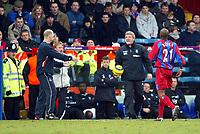 Photo. Chris Ratcliffe<br /> Crystal Palace v Birmingham City. Barclays Premiership. 26/02/2005<br /> Steve Bruce will not give Ian Dowie his ball back. Dowie has the last laugh as his team win 2-0