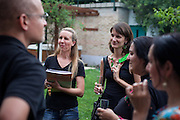 Barvalipe: The 2nd Roma Pride Summer Camp for young Roma from Central and Eastern Europe at Szentendre Island near Budapest, Hungary. Gabriela Holman (2nd from the left) with visitors during the final evening celebration.