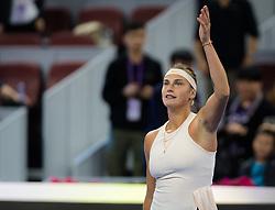 October 2, 2018 - Aryna Sabalenka of Belarus celebrates winning her second-round match at the 2018 China Open WTA Premier Mandatory tennis tournament (Credit Image: © AFP7 via ZUMA Wire)