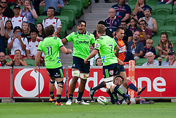 March 1, 2019 - Victoria, VIC, U.S. - MELBOURNE, AUSTRALIA - MARCH 01: Shannon Frizell (6) of the Highlanders celebrates after scoring the opening try at The Super Rugby match between Melbourne Rebels and Highlanders on March 01, 2019 at AAMI Park, VIC. (Photo by Speed Media/Icon Sportswire) (Credit Image: © Speed Media/Icon SMI via ZUMA Press)