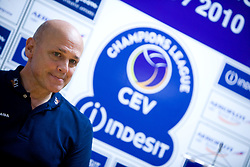 Coach of ACH Glenn Hoag dissapointed at press conference after the 2nd Semifinal match of CEV Indesit Champions League FINAL FOUR tournament between ACH Volley, Bled, SLO and Trentino BetClic Volley, ITA, on May 1, 2010, at Arena Atlas, Lodz, Poland. Trentino defeated ACH 3-1. (Photo by Vid Ponikvar / Sportida)