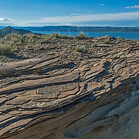 Eroded rock features overlook Fort Peck Reservoir in Charles M. Russell National Wildlife Reserve, Montana.