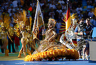 Dancers perform during the 2014 FIFA World Cup Final match at Maracana Stadium, Rio de Janeiro<br /> Picture by Andrew Tobin/Focus Images Ltd +44 7710 761829<br /> 13/07/2014