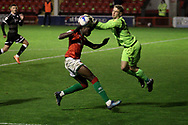 Crawley Town's Tom McGill Walsall's Elijah Adebayo during the EFL Sky Bet League 2 match between Walsall and Crawley Town at the Banks's Stadium, Walsall, England on 3 November 2020.