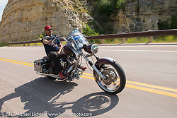 The Mayor of Fun Bean're on the Aidan's Ride to raise money for the Aiden Jack Seeger nonprofit foundation to help raise awareness and find a cure for ALD (Adrenoleukodystrophy) during the annual Sturgis Black Hills Motorcycle Rally. Vanocker Canyon between Sturgis and Nemo, SD, USA. Tuesday August 8, 2017. Photography ©2017 Michael Lichter.