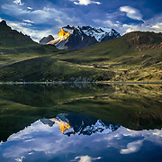 Laguna Reflections Chile, Magallanes Region, Torres del Paine National Park, Lago Pehoe, landscape, sunset.