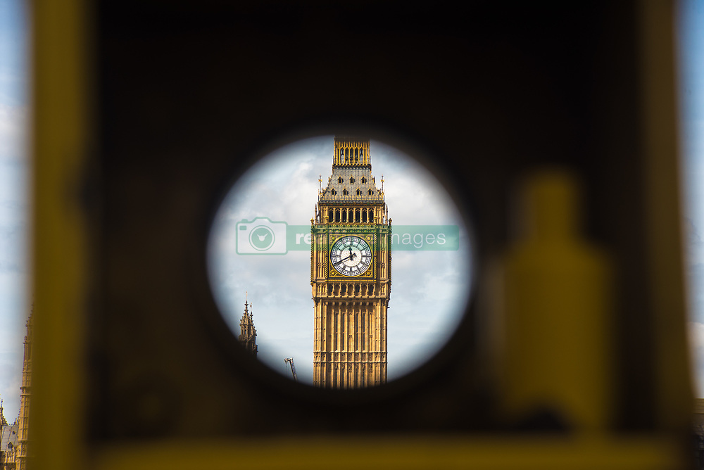August 14, 2017 - London, England, United Kingdom - Elizabeth Tower, known as 'Big Ben' is pictured in London on August 14, 2017. The bongs of the iconic bell will be stopped to protect workers during a four-year, £29m-conservation project that includes repair of the Queen Elizabeth Tower, which houses the Great Clock and its bell. The familiar bongs will fall silent after sounding at noon 21 August, and are set to begin again regularly in 2021. (Credit Image: © Alberto Pezzali/NurPhoto via ZUMA Press)