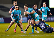 Sale Sharks fly-half AJ McGinty tackles Warriors centre Ashley Beck during the Gallagher Premiership match Sale Sharks -V- Worcester Warriors at The AJ Bell Stadium, Greater Manchester,England United Kingdom, Friday, January 08, 2021. (Steve Flynn/Image of Sport)