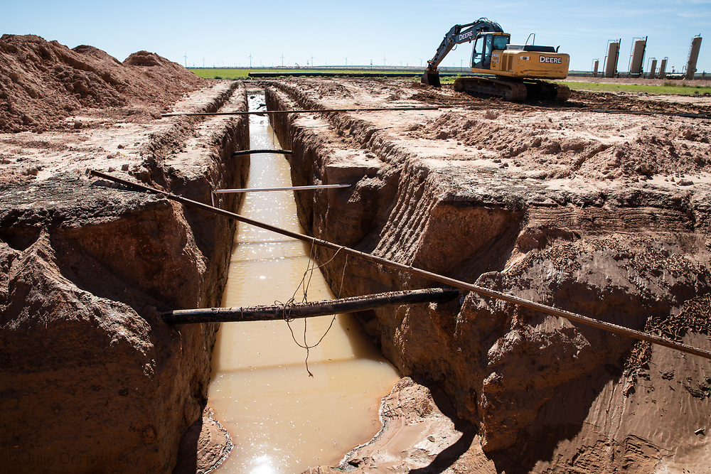 Pipeline instalation site outside of Big Spring, Texas in the Permian Basin.