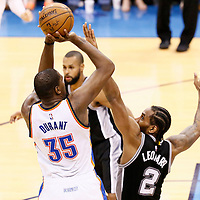 08 May 2016: Oklahoma City Thunder forward Kevin Durant (35) takes a jump shot over San Antonio Spurs forward Kawhi Leonard (2) during the Oklahoma City Thunder 111-97 victory over the San Antonio Spurs, during Game Four of the Western Conference Semifinals of the NBA Playoffs at the Chesapeake Energy Arena, Oklahoma City, Oklahoma, USA.