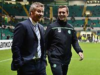 05/11/15 UEFA EUROPA LEAGUE GROUP STAGE<br /> CELTIC v MOLDE FK<br /> CELTIC PARK - GLASGOW<br /> Celtic manager Ronny Deila (right) with Ole Gunnar Solskjaer