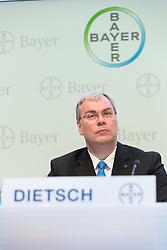26.02.2015, Bayer-Kommunikationszentrum, Leverkusen, GER, Bilanzpressekonferenz Bayer AG, Ergebnisse des Geschäftsjahres 2014,  im Bild Johannes Dietsch (Vorstand Finanzen Bayer AG) // during a Annual Press Conference Bayer AG at the Bayer-Kommunikationszentrum in Leverkusen, Germany on 2015/02/26. EXPA Pictures © 2015, PhotoCredit: EXPA/ Eibner-Pressefoto/ Schueler<br /> <br /> *****ATTENTION - OUT of GER*****
