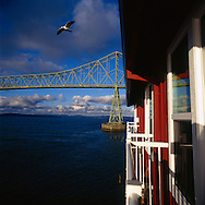 The Cannery Pier Hotel, built on the site of the former Union Fish Cannery is located 600 feet into the Columbia River.  Each room has views of the majestic Astoria-Megler Bridge, a steel girder continuous truss bridge that spans the Columbia River between Astoria, Oregon and Point Ellice, Washington.  The bridge is 4.1 miles in length.