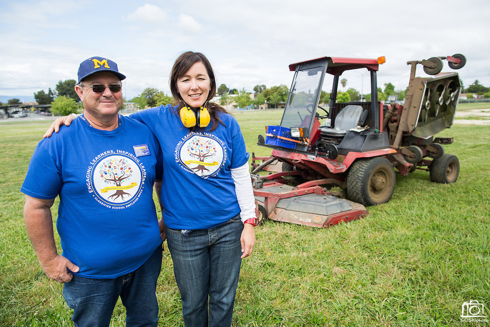 Spangler Elementary School principal Catherine Waslif and MUSD Bus Driver and Grounds Keeper Anthony Gomez pose for a portrait during the California School Employees Association Appreciating Classified Employees event throughout the Milpitas Unified School District in Milpitas, California, on May 21, 2015. (Stan Olszewski/SOSKIphoto)