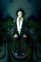 Priestess grounded in sacred shadow energy meditation.
