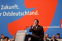 """10 MAR 2002, MAGDEBURG/GERMANY:<br /> Gerhard Schroeder, SPD, Bundeskanzler, waehrend seiner Rede, gemeinsamer Parteitag der ostdeutschen SPD Landesverbaende unter dem Motto:""""Richtung Zukunft. Politik fuer Ostdeutschland."""", Hotel Maritim<br /> IMAGE: 20020310-01-034<br /> KEYWORDS: Party congress, Gerhard Schröder"""