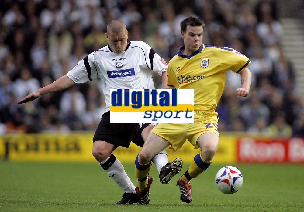 Photo: Paul Thomas.<br /> Derby County v Southampton. Coca Cola Championship. Play Off Semi Final, 2nd Leg. 15/05/2007.<br /> <br /> Seth Johnson (L) of Derby fouls Danny Guthrie.