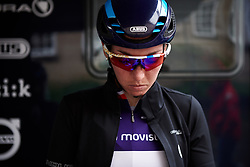 Aude Biannic (FRA) warms up for Stage 4 of 2019 OVO Women's Tour, a 158.9 km road race from Warwick to Burton Dassett, United Kingdom on June 13, 2019. Photo by Sean Robinson/velofocus.com