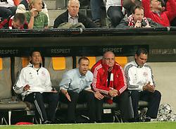 Football - soccer: UEFA Champions League, 2008/2009, FC Bayern Munich - AC Florence,  Trainer Juergen Klinsmann and manager Uli Hoeness (FCB) (Photo by Sportida / HOCH ZWEI / Christian Kolb)