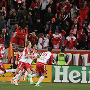 Felipe Martins, (center), New York Red Bulls, celebrates with team mates after scoring the second of his two spectacular goals in New York Red Bulls 4-3 win during the New York Red Bulls Vs Houston Dynamo, Major League Soccer regular season match at Red Bull Arena, Harrison, New Jersey. USA. 19th March 2016. Photo Tim Clayton