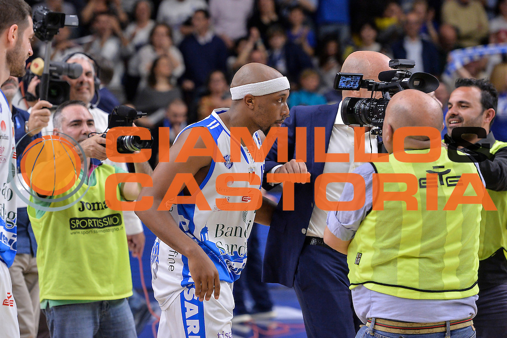 DESCRIZIONE : Beko Legabasket Serie A 2015- 2016 Dinamo Banco di Sardegna Sassari - Olimpia EA7 Emporio Armani Milano<br /> GIOCATORE : Josh Akognon<br /> CATEGORIA : Ritratto Esultanza Postgame<br /> SQUADRA : Dinamo Banco di Sardegna Sassari<br /> EVENTO : Beko Legabasket Serie A 2015-2016<br /> GARA : Dinamo Banco di Sardegna Sassari - Olimpia EA7 Emporio Armani Milano<br /> DATA : 04/05/2016<br /> SPORT : Pallacanestro <br /> AUTORE : Agenzia Ciamillo-Castoria/L.Canu