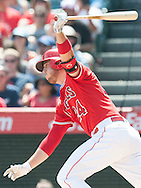 C.J. Cron grounds into a double play during the Angels' preseason game against the Chicago Cubs at Angel Stadium Sunday.<br /> <br /> <br /> ///ADDITIONAL INFO:   <br /> <br /> angels.0404.kjs  ---  Photo by KEVIN SULLIVAN / Orange County Register  --  4/3/16<br /> <br /> The Los Angeles Angels take on the Chicago Cubs at Angel Stadium during a preseason game at Angel Stadium Sunday.<br /> <br /> <br />  4/3/16