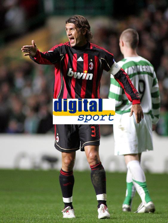 Photo: Paul Thomas.<br /> Glasgow Celtic v AC Milan. UEFA Champions League. Last 16, 1st Leg. 20/02/2007.<br /> <br /> Captain Paolo Maldini of Milan yells at his defence.