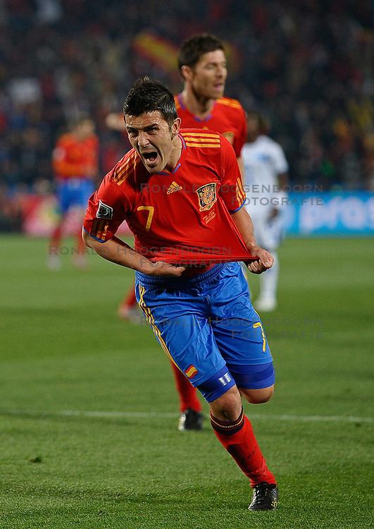 21-06-2010 VOETBAL: FIFA WORLDCUP 2010 SPANJE - HONDURAS: JOHANNESBURG <br /> David Villa of Spain celebrates scoring the 1st goal<br /> ©2010-FRH- NPH/ Vid Ponikva (Netherlands only)