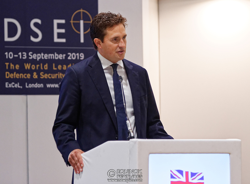 London, United Kingdom - 12 September 2019<br /> Johnny Mercer MP, Parliamentary Under-Secretary of State for Defence People and Veterans for the UK Government gives a keynote address speech and answers questions from the audience at DSEI 2019 security, defence and arms fair at ExCeL London exhibition centre.<br /> (photo by: EQUINOXFEATURES.COM)<br /> Picture Data:<br /> Photographer: Equinox Features<br /> Copyright: ©2019 Equinox Licensing Ltd. +443700 780000<br /> Contact: Equinox Features<br /> Date Taken: 20190912<br /> Time Taken: 10090775<br /> www.newspics.com
