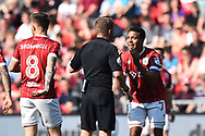 Korey Smith (7) of Bristol City appeals to referee Oliver Langford during the EFL Sky Bet Championship match between Bristol City and Hull City at Ashton Gate, Bristol, England on 21 April 2018. Picture by Graham Hunt.