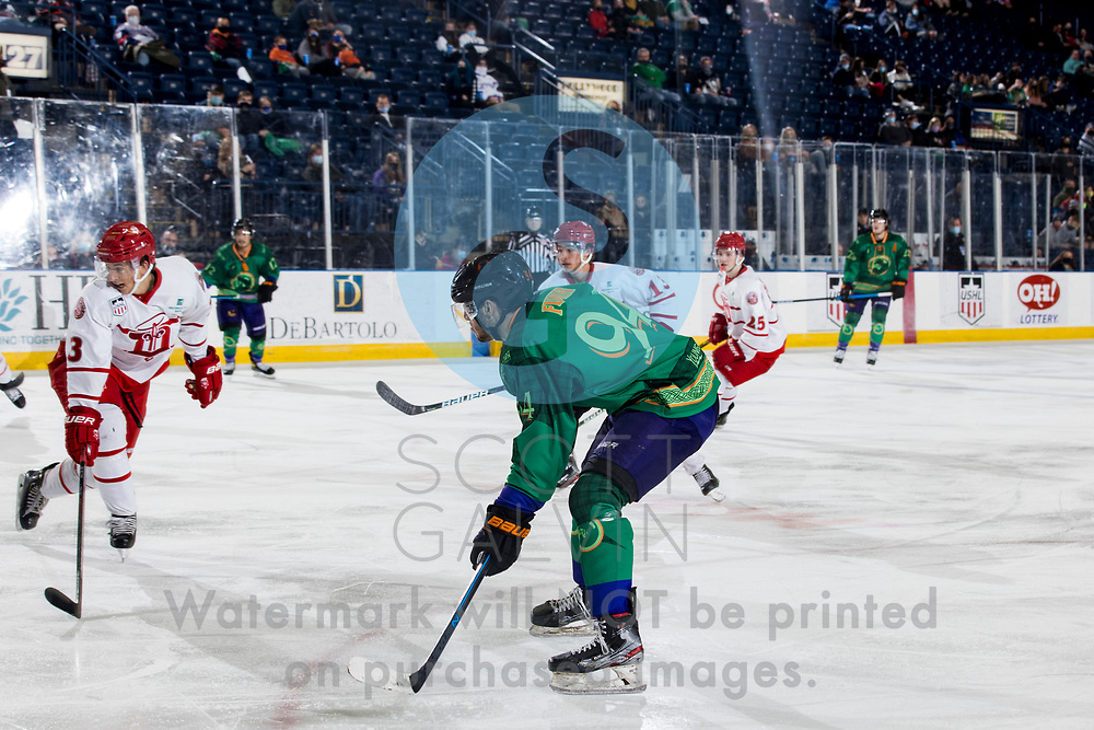 Youngstown Phantoms lose 5-4 to the Dubuque Fighting Saints at the Covelli Centre on March 13, 2021.<br /> <br /> Reilly Funk, forward, 94