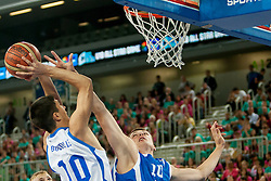 Axel Bouteille (team white) of France vs Damian Jeszke (team blue) of Poland during basketball match U18 All Star Game 2013 at Day 18 of Eurobasket 2013 on September 21, 2013 in SRC Stozice, Ljubljana, Slovenia. (Photo By Urban Urbanc / Sportida)