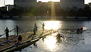 2005 FISA Team Cup, Rio Guadalquiver Rowing Course, Seville, SPAIN, 19.02.2005. Training Day; Crews returning from training. Photo  Peter Spurrier. .email images@intersport-images... Sunrise, Sunsets, Silhouettes