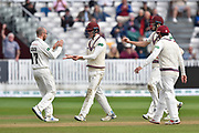 Wicket - Jack Leach of Somerset celebrates taking the wicket of Alastair Cook of Essex who was caught by Tom Banton of Somerset during the Specsavers County Champ Div 1 match between Somerset County Cricket Club and Essex County Cricket Club at the Cooper Associates County Ground, Taunton, United Kingdom on 26 September 2019.