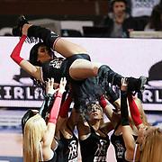 Anadolu Efes's show girls during their Turkish Basketball League match Anadolu Efes between Galatasaray at Abdi Ipekci Arena in Istanbul, Turkey, Wednesday, January 04, 2012. Photo by TURKPIX