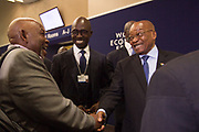 Jabu A. Mabuza, Chairman<br /> Telkom, Malusi Gigaba, Minister of Finance<br /> Ministry of Finance of South Africa and Jacob G. Zuma, President of the Republic of South Africa<br /> Presidency of South Africa share a joke at the World Economic Forum on Africa 2017 in Durban, South Africa. Copyright by World Economic Forum / Greg Beadle