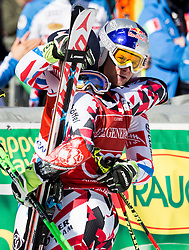 Marcel Hirscher (AUT) and Alexis Pinturault (FRA) celebrate at finish line after the 9th Men's Giant Slalom race of FIS Alpine Ski World Cup 55th Vitranc Cup 2016, on March 4, 2016 in Kranjska Gora, Slovenia. Photo by Vid Ponikvar / Sportida