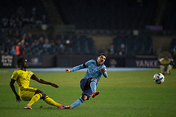 November 5, 2017 - Bronx, New York, U.S - Columbus Crew midfielder MOHAMMED ABU (8) blocks a shot on goal by New York City FC forward DAVID VILLA (7) during leg 2 of the Eastern Conference Semifinal at Yankee Stadium, Bronx, NY.  NYCFC defeats Columbus Crew 2-0.  Columbus wins 4-3 on aggregate. (Credit Image: © Mark Smith via ZUMA Wire)