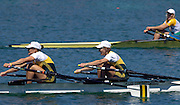 2005 FISA Rowing World Cup Munich,GERMANY. 19.06.2005;  AUS W2X Sally Keyoe [left] and Amber Bradley. Silver medallist W2X.Photo  Peter Spurrier. .email images@intersport-images...[Mandatory Credit Peter Spurrier/ Intersport Images] Rowing Course, Olympic Regatta Rowing Course, Munich, GERMANY