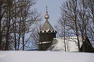 Wodziłki. Cerkiew staroobrzędowców w zimowej scenerii