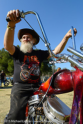Invited builder Tom Fugle and his custom Harley-Davidson Panhead on day two of the Born Free Vintage Chopper and Classic Motorcycle Show at the Oak Canyon Ranch in Silverado, CA. USA. Sunday, June 29, 2014.  Photography ©2014 Michael Lichter.