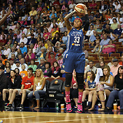 Seimone Augustus, Minnesota Lynx, shoots during the Connecticut Sun Vs Minnesota Lynx, WNBA regular season game at Mohegan Sun Arena, Uncasville, Connecticut, USA. 27th July 2014. Photo Tim Clayton