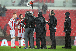 Stoke City's man of the match Ryan Woods (left) and Joe Allen (second left during a post match interview with Sky Sports after the final whistle