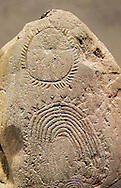 """Prehistoric  petroglyphs, rock carvings, of geometric designs carved by the the prehistoric Camuni people in the Copper Age around the 3rd milleneum BC, Stele """"Bagnolo 2"""" found in 1972 from Malegno near Bangnolo Ceresolo. Museo Nazionale della Preistoria della Valle Camonica ( National Museum of Prehistory in Valle Cominca ), Lombardy, Italy. Art Background .<br /> <br /> If you prefer you can also buy from our ALAMY PHOTO LIBRARY  Collection visit : https://www.alamy.com/portfolio/paul-williams-funkystock/valcamonica-menhir-museum.html<br /> Visit our PREHISTORIC PLACES PHOTO COLLECTIONS for more  photos to download or buy as prints https://funkystock.photoshelter.com/gallery-collection/Prehistoric-Neolithic-Sites-Art-Artefacts-Pictures-Photos/C0000tfxw63zrUT4"""